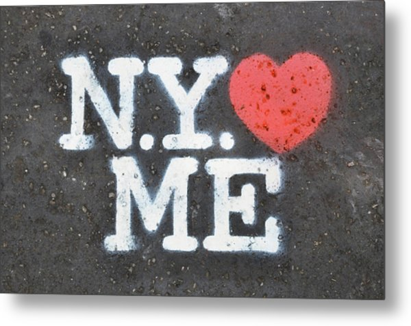 New York Loves Me Stencil Metal Print