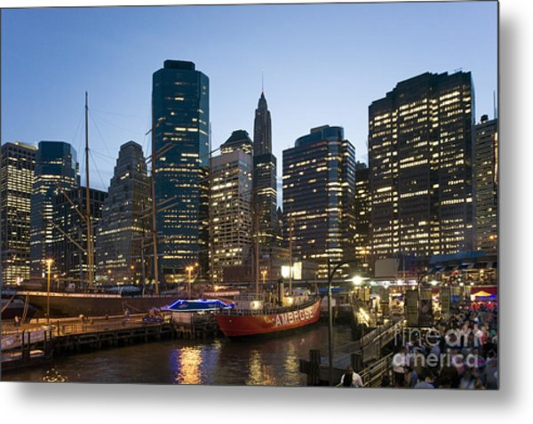 Metal Print featuring the photograph New York Manhattan Seaport by Juergen Held