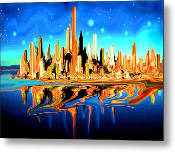 New York Skyline Blue Orange - Modern Art Metal Print