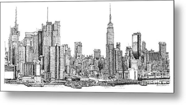 New York Skyline In Ink Metal Print