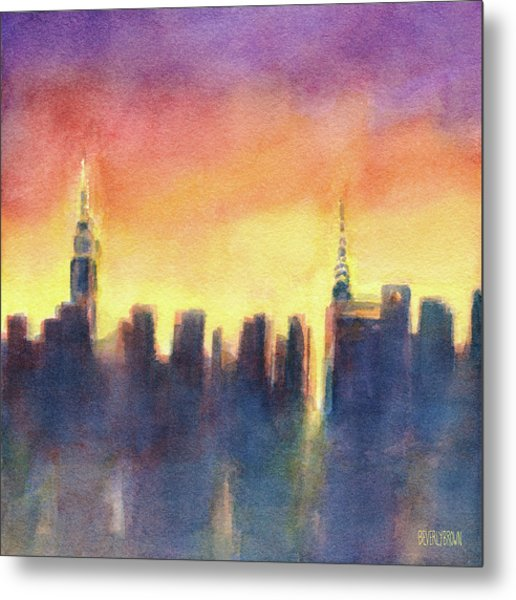 New York Sunset After The Rain Metal Print