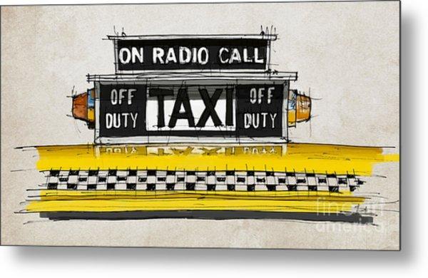 New York Taxi Sign, Yellow Cab Metal Print