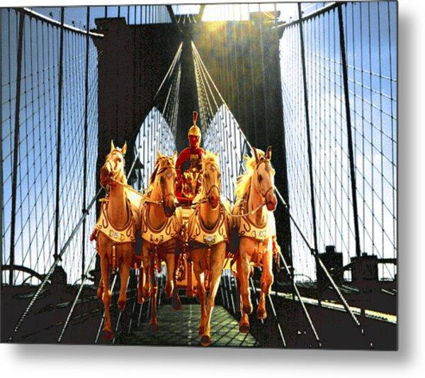 New York Brooklyn Bridge Fantasy Collage Metal Print