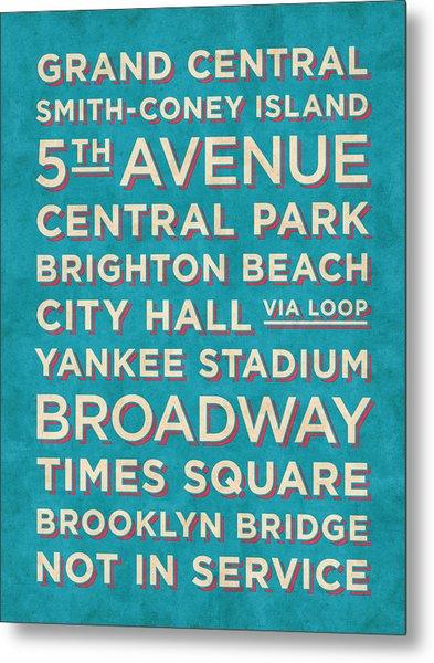 New York Train Stations Retro Vintage - Cream On Blue Metal Print