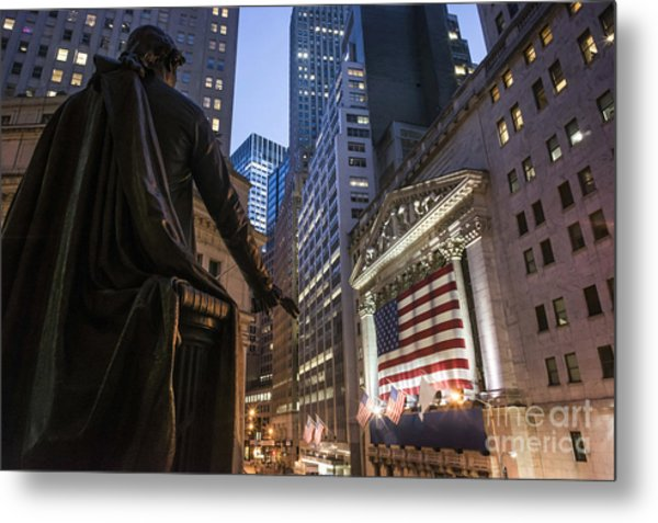 Metal Print featuring the photograph New York Wall Street by Juergen Held