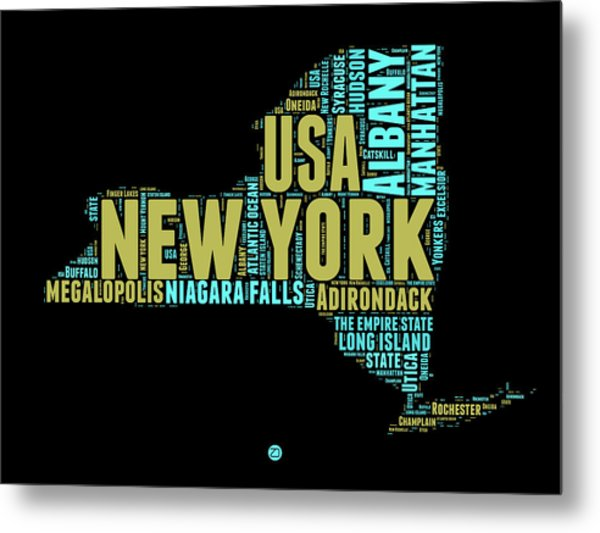New York Word Cloud Map 1 Metal Print