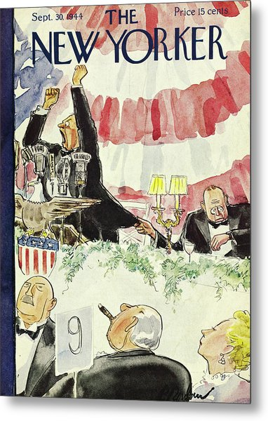 New Yorker Magazine Cover Of A Politician Giving Metal Print