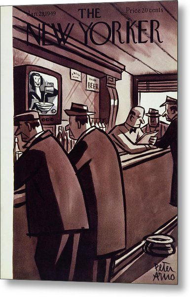 New Yorker Magazine Cover Of Men In A Bar Metal Print