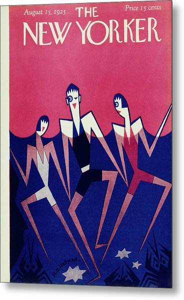 New Yorker Magazine Cover Of People Swimming Metal Print by H O Hofman