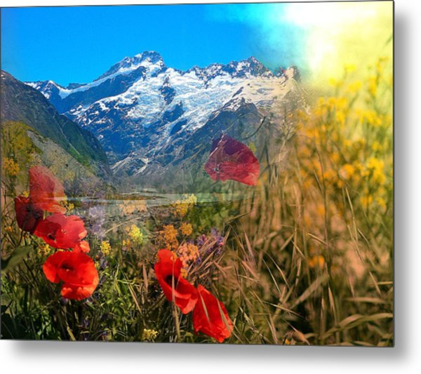 New Zealand Southern Alps Montage Metal Print