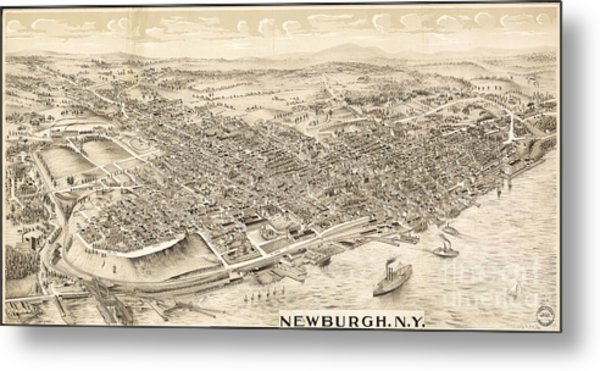 Newburgh Ny Birds Eye Drawing Metal Print