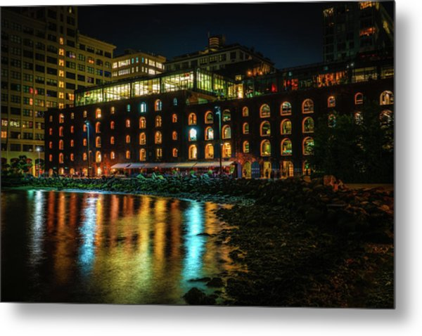 Metal Print featuring the photograph Newly Gentrified Warehouse At Night by Chris Lord