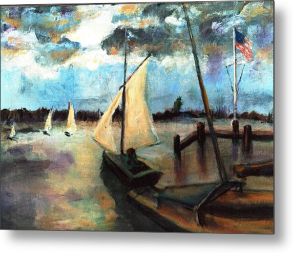 Newport Moonlight Sail Metal Print by Randy Sprout