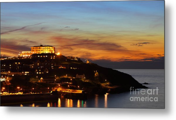 Newquay Harbor At Night Metal Print