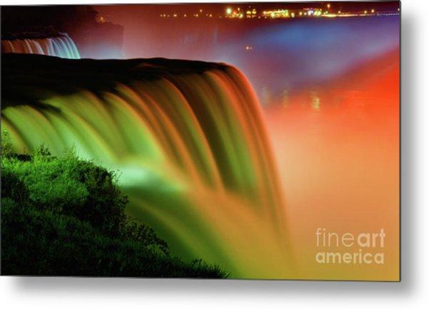 Niagara Falls Illumination Of Lights At Night Metal Print