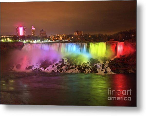 Niagara Falls Rainbow Metal Print