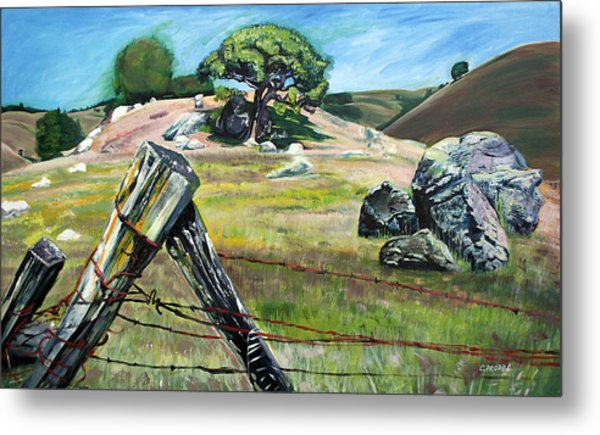 Nicasio Fence Post Metal Print by Colleen Proppe