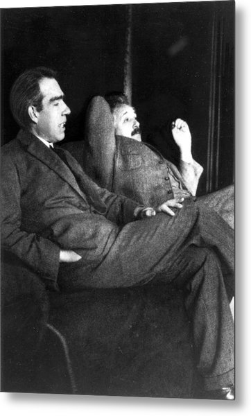 Niels Bohr And Albert Einstein Metal Print