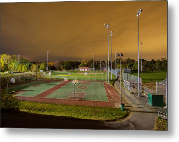 Night At The High School Basketball Court Metal Print