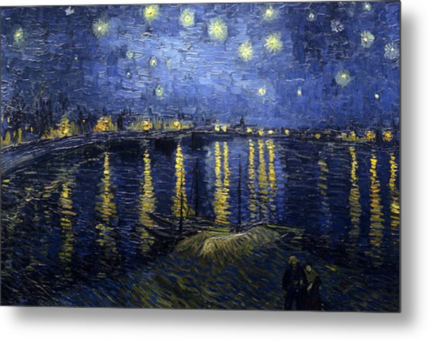 Night At The Lake Metal Print