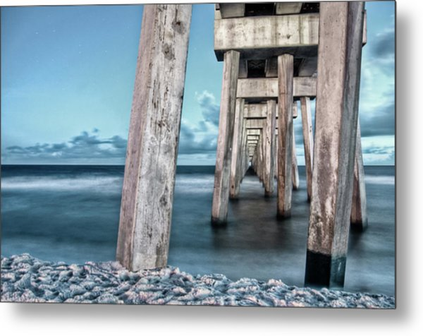 Night At The Pier Metal Print