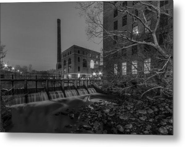 Night At The River 2 In Black And White Metal Print