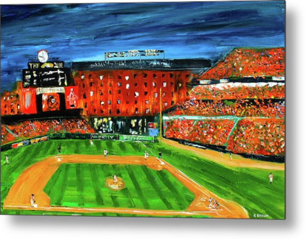 Metal Print featuring the painting Night At The Yard by Kevin Brown