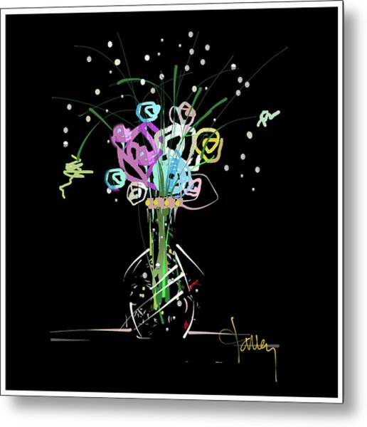 Metal Print featuring the mixed media Night Bouquet by Larry Talley
