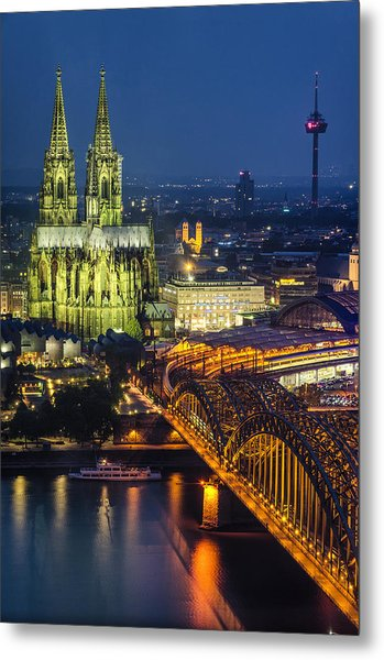 Night Falls Upon Cologne 1 Metal Print