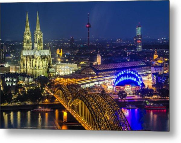 Night Falls Upon Cologne 2 Metal Print