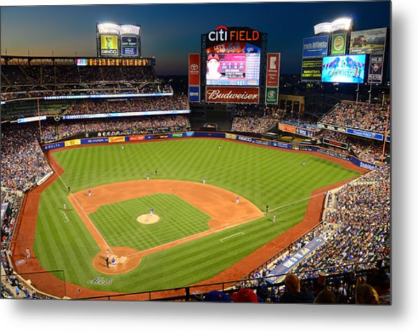 Night Game At Citi Field Metal Print