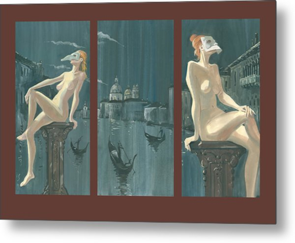 Night In Venice. Triptych Metal Print