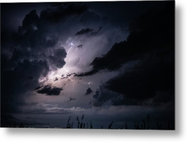 Night Lightening Metal Print