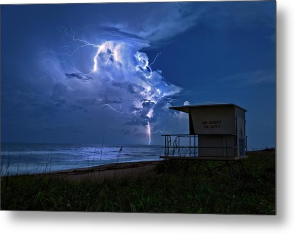 Night Lightning Under Full Moon Over Hobe Sound Beach, Florida Metal Print