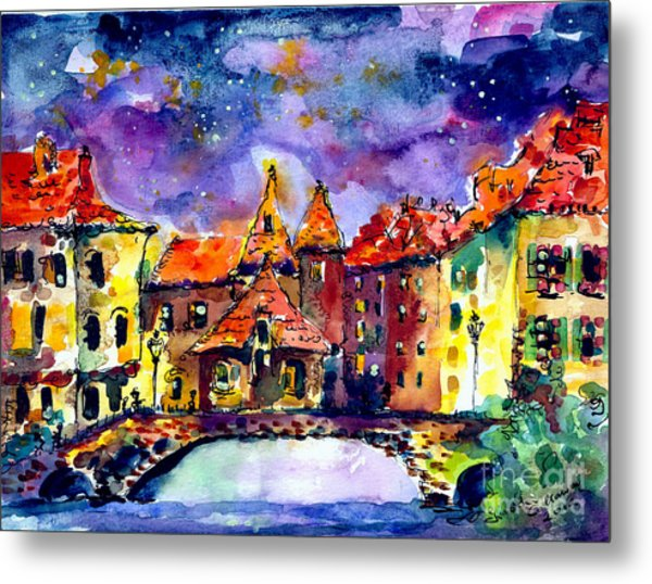 Night Over Annecy Metal Print