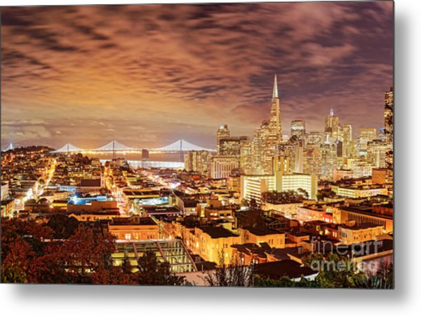 Night Panorama Of San Francisco And Oak Area Bridge From Ina Coolbrith Park - California Metal Print