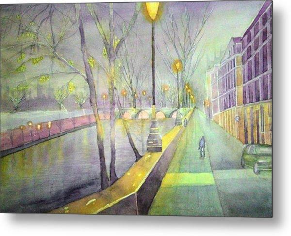 Night Paris Street   Metal Print by Stanley Sum wai lee