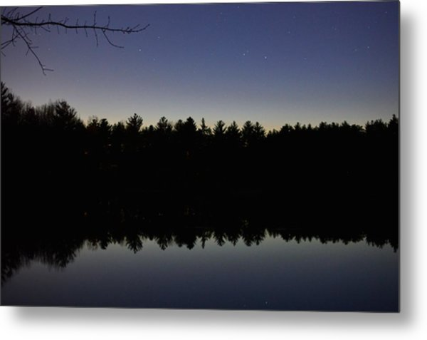 Night Reflects On The Pond Metal Print