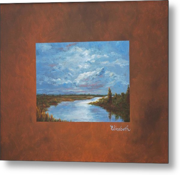 Night River With Painted Border Metal Print by Beth Maddox