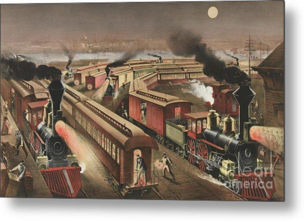 Night Scene At An American Railway Junction Metal Print