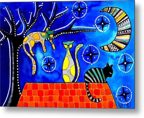 Night Shift - Cat Art By Dora Hathazi Mendes Metal Print