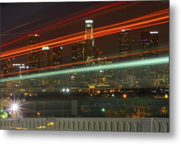 Night Shot Of Downtown Los Angeles Skyline From 6th St. Bridge Metal Print