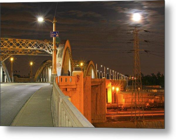 Night Shot Of The Los Angeles 6th Street Bridge And Supermoon #1 Metal Print