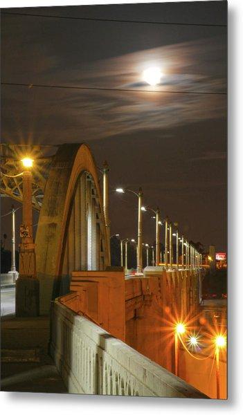 Night Shot Of The Los Angeles 6th Street Bridge And Supermoon #4 Metal Print