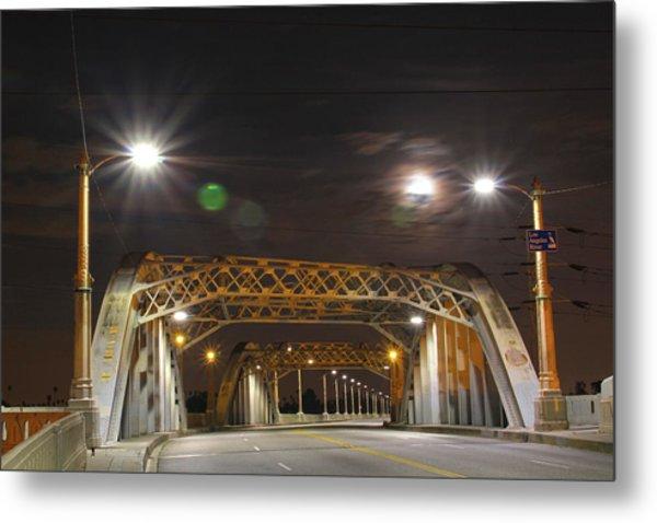 Night Shot Of The Los Angeles 6th Street Bridge And Supermoon #5 Metal Print
