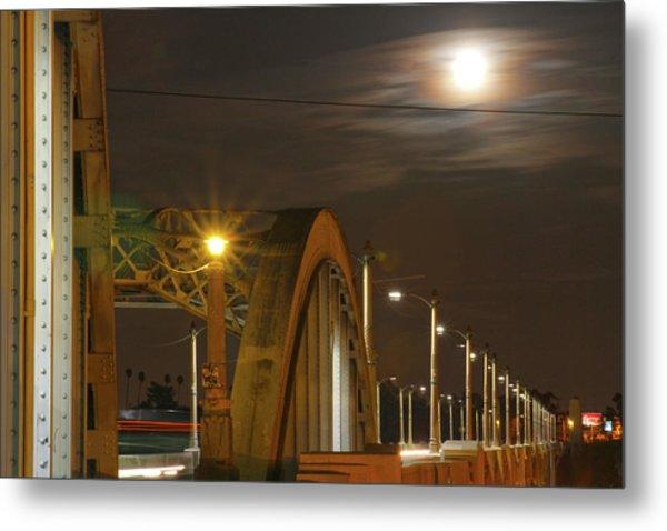 Night Shot Of The Los Angeles 6th Street Bridge And Supermoon #7 Metal Print