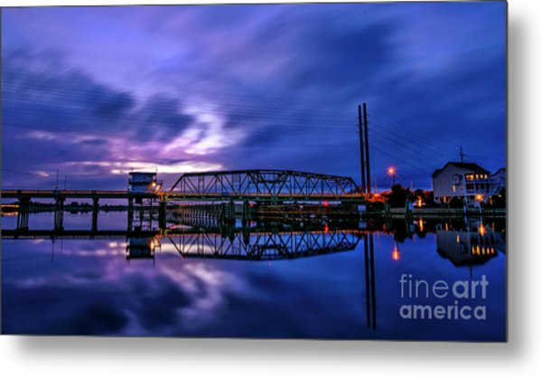 Night Swing Bridge Metal Print