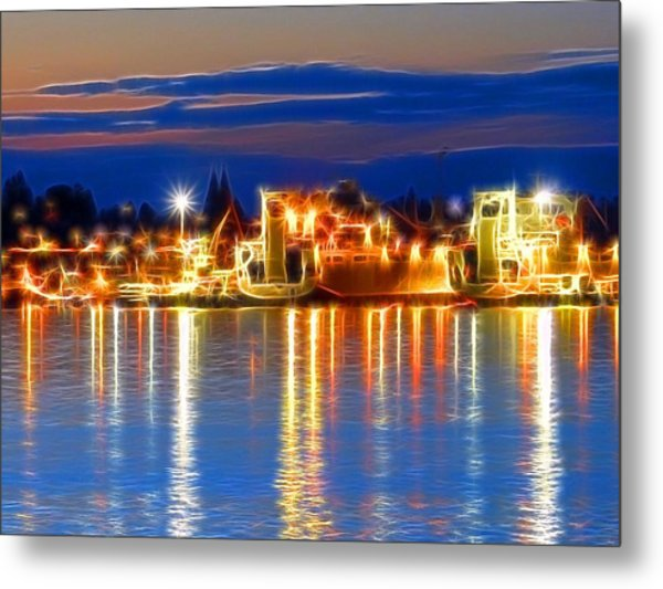 Night Time At The Shipyard Metal Print