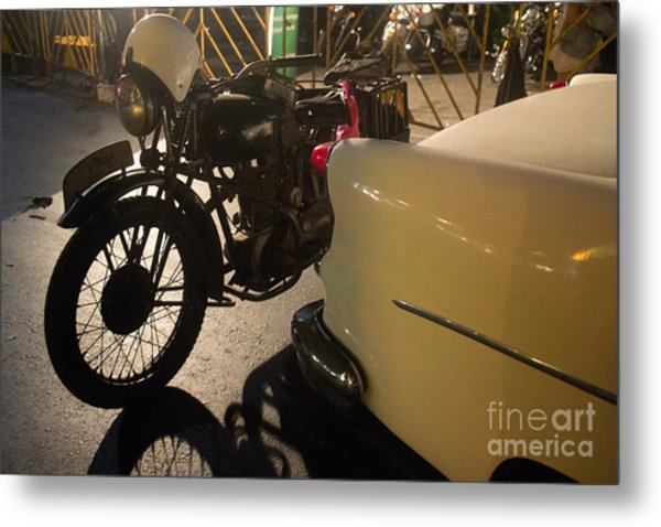 Night Time Silhouette Of Vintage Motorcycle Near Tail Of 50's St Metal Print