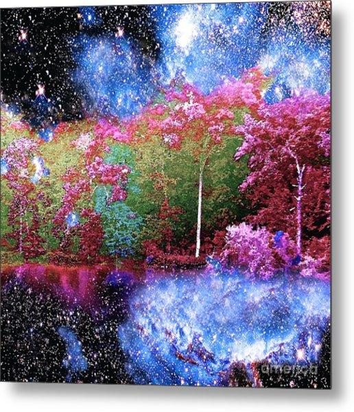 Night Trees Starry Lake Metal Print